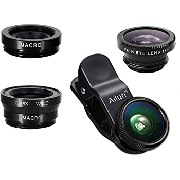 iPhone Lens,by Ailun,3 in 1 Clip On 180 Degree Fish Eye Lens+0.65X Wide Angle+10X Macro Lens,Universal HD Camera Lens Kit for iPhone 7/6s/6s Plus/6/SE/5/5s,Samsung,BlackBerry,Mobile Phone [Black]