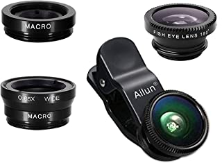 iPhone Lens,by Ailun,3 in 1 Clip On 180 Degree Fish Eye Lens+0.65X Wide Angle+10X Macro..