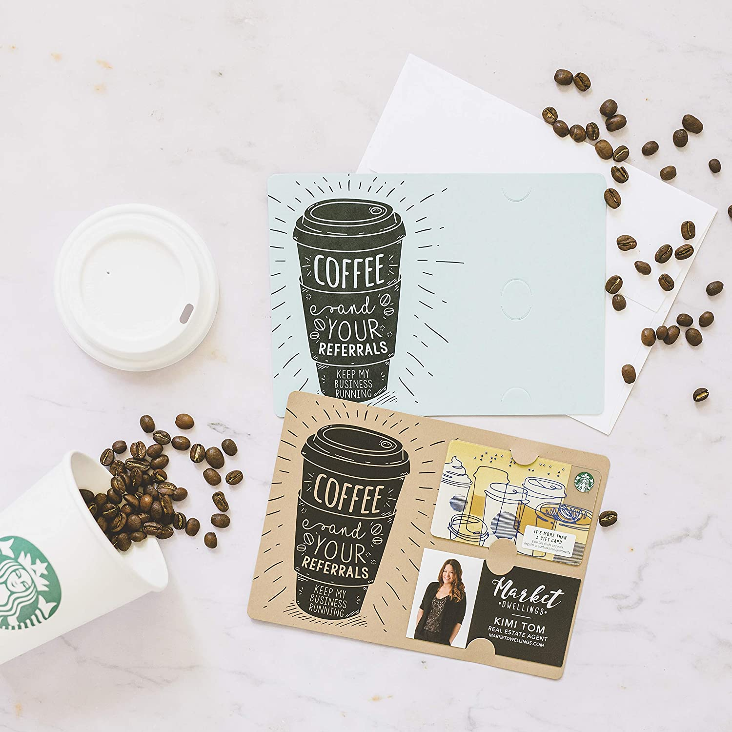 OFFicial shop SET of Coffee Gift Card Greeting Holder Business and