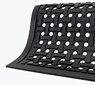 Comfort Flow Black Rubber Commercial Kitchen Drainage Mat, Anti-Fatigue, Slip and Grease/Oil Resistant 5' Length x 3' Width, by M+A Matting