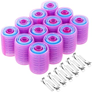 Rollers for Hair, Anezus 60 Pcs Hair Rollers Self Grip Set Includes 48 Pcs Hair Curlers and 12 Pcs Double Prong Clips for Women, Men Hairdressing