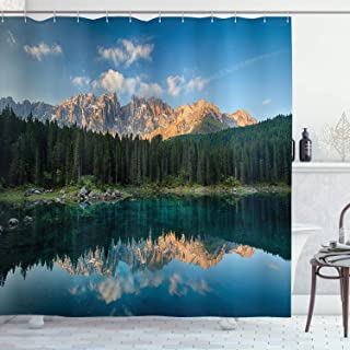 Ambesonne Lake House Decor Collection, Lake with Mountain Forest Landscape Lago Di Carezza Wild Nature Scenic Picture, Polyester Fabric Bathroom Shower Curtain Set with Hooks, Blue Green Teal