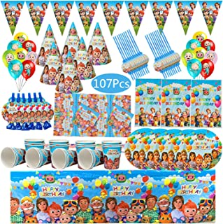 Party Tableware Theme Party Supplies Disposable Tableware Set Cup Plate Napkin Straw Balloons Happy Birthday Kid's Favorit...