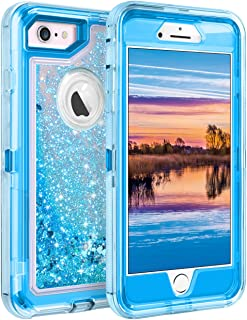 Coolden Case for iPhone 6S Case Protective Glitter Case for Women Girls Cute Bling Sparkle 3D Quicksand Heavy Duty Hard Shell Shockproof TPU Case for 4.7 Inches iPhone 6 6S 7 8, Blue