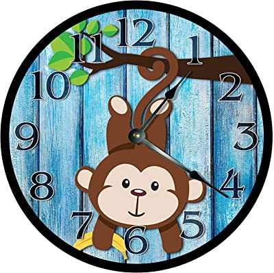 128 buyloii Cute Playful Baby Monkey Clock - Nursery Clock - Large 10 Inch Wall Clock