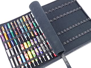 Black Cowhide Leather Fountain Pen Case for Various Size Pens, 46 Slot Display Holder Bag