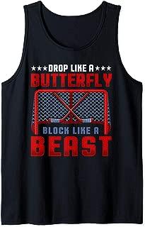 Drop Like A Butterfly Block Like A Beast Ice Hockey Goalie Tank Top