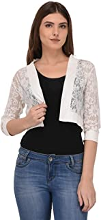 Espresso Women's Cotton Flower Lace Open Cardigan Bolero Shrug