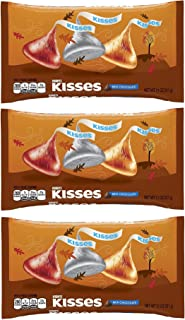 KISSES Chocolates, Gluten-Free Solid Milk Chocolate Candy Wrapped in Seasonal Foil in Fall Harvest Packaging, 11 Ounce Bag (Pack of 3)