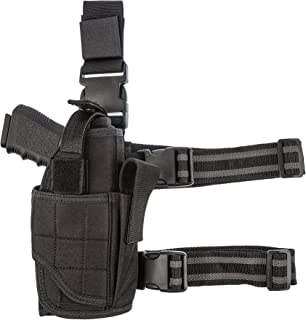 CCW Tactical Leg Holster by Wrap Around Thigh Design for Men and Women with Fully Adjustable and Removable Belt Hanger Strap, Black