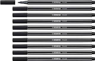 STABILO Pen 68 Black Pack of 10 - Premium Felt-tip Pen