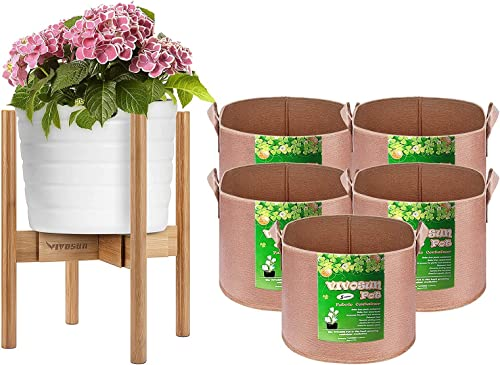 popular VIVOSUN Bamboo discount Adjustable online Flower Pot Holder, with 5-Pack 5 Gallons Heavy Duty Thickened Nonwoven Fabric Pots online