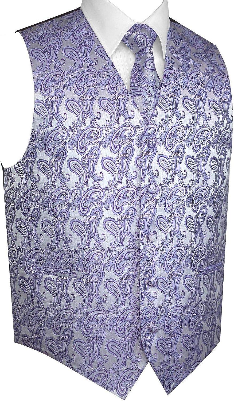 Men's Formal Tuxedo Vest, Tie & Pocket Square Set in Lavender Paisley