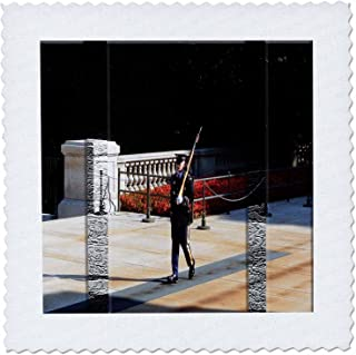 3dRose qs_48273_3 Guard for Unknown Soldier Marching in Washington D C Beveled, Textured in Color and Black N White Quilt ...