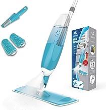 VOUNOT Balai Lave Sol avec Vaporisateur Récipient Eau 650ML Balai avec tête Flexible 360 degré 2 Chiffons Microfibre et 1 Brosse de Nettoyage Inclus Balai Nettoyant Bleu