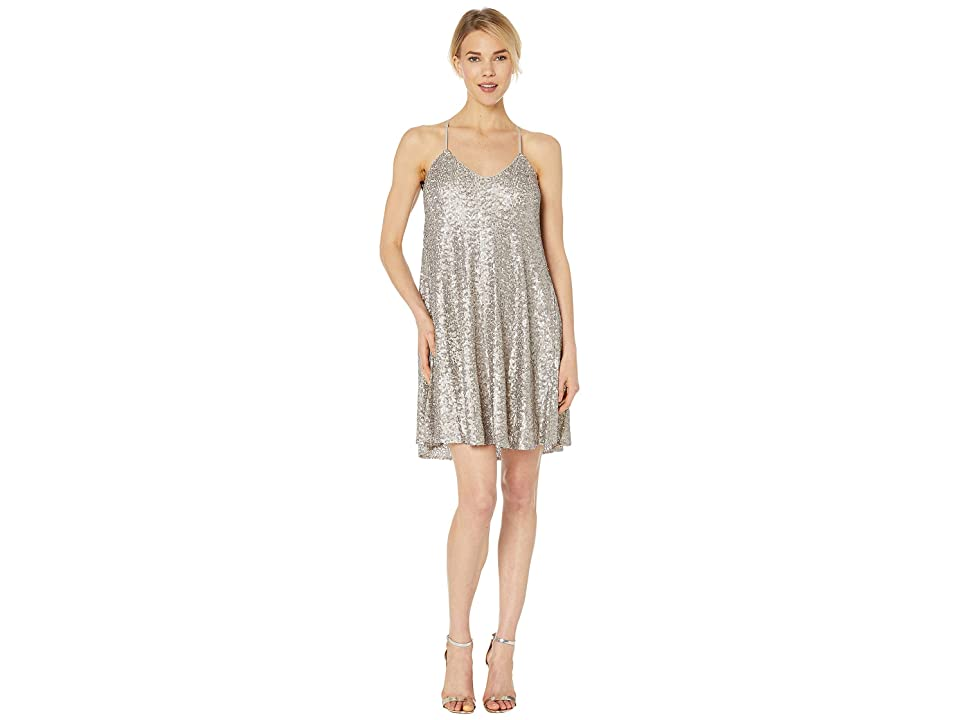 Laundry by Shelli Segal Sequin Trapeze Cocktail Dress (Sand/Silver) Women