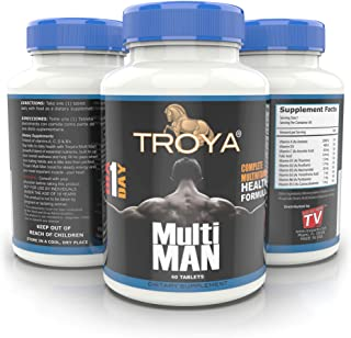 TROYA Daily Men's Multivitamin for Weight Loss, Build Muscle, Sex Health, Boost Energy with Vitamin C, D3, A, B1, B2, B3, ...