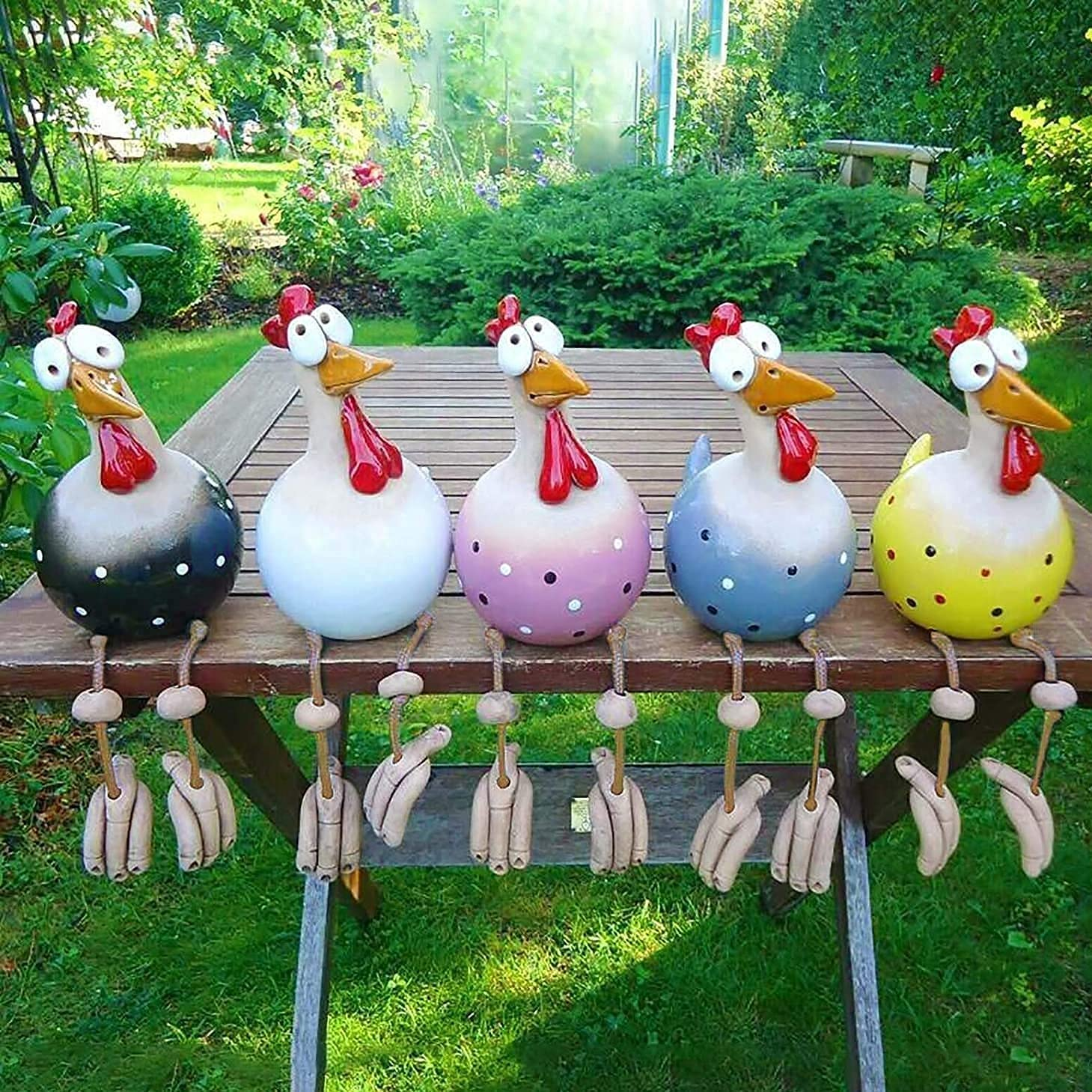 5PCS Funny Philadelphia Mall Chicken Yard Art Max 67% OFF Statues Outdoor Rooster Decor Resin