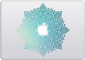 Laptop Stickers MacBook Decal - Removable Vinyl w/ Glowing Apple Diecut - Mandala Decal Green Blue Colorful Skin - Best Decorative Sticker - Artsybb
