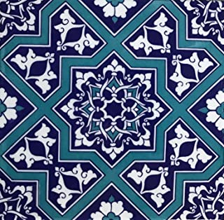 "Turkish Blue Iznik Floral Pattern 8"" x 8"" Ceramic Tile"