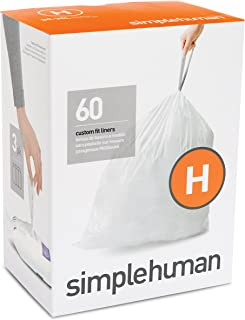 simplehuman Code H Custom Fit Liners, Drawstring Trash Bags, 30-35 L / 8-9 Gallon, 3 Refill Packs (60ct)