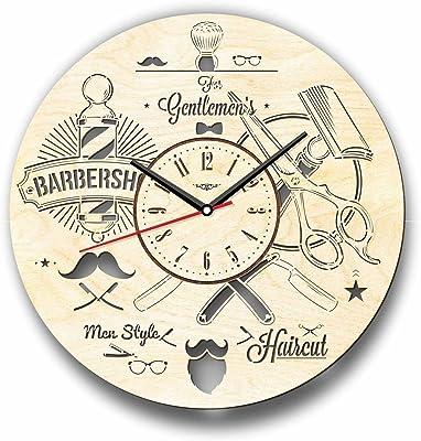 Barber Shop 理髪店木製掛け時計ー完璧で美しく作られたー現代アートで自宅を飾ろうー彼と彼女にユニークなギフトーサイズ12インチ(30 ㎝)