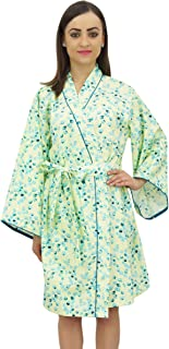 Bimba Women's Leaf Printed Kimono Robe Full Sleeve Cotton Poplin Cover up