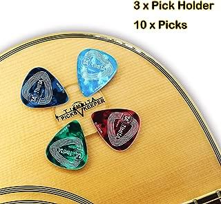 Pick Holder Easy to Stick on Guitar Suitable for Paste on Any Shape of Pick, Pickholder for Acoustic Guitar Bass Ukulele, 3 Picks Keeper + 10 Pcs Guitar Picks Accesories