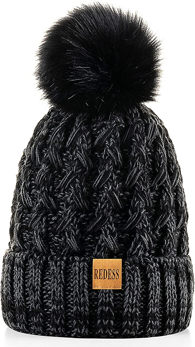 REDESS Women Winter Pompom Beanie Hat Fleece Lined Warm Hats, Thick Slouchy Snow Knit Crossed Cap for Ladies