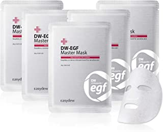 Easydew DW-EGF Master Face Mask Sheet Pack of 5 - Award-Winning Anti Aging Full Facial Mask Sheet with Human Epidermal Growth Factor - Naturally Produce Collagen to Rejuvenate & Regenerate Cells