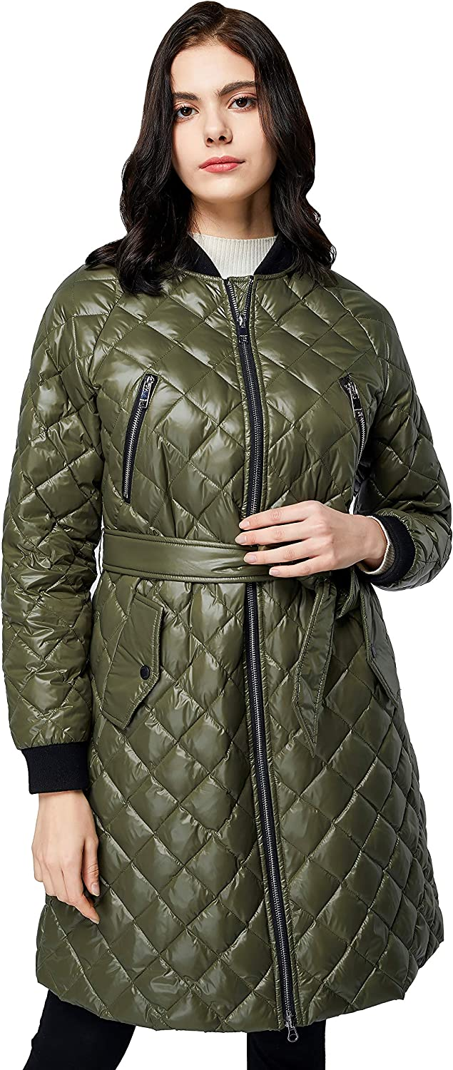 Orolay Women's Down Winter Coats with Plaid Style Rib Knit Lightweight Jacket