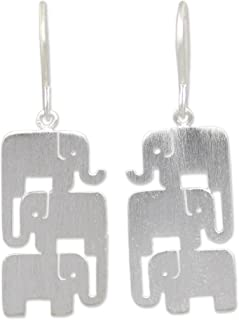 NOVICA .925 Sterling Silver Dangle Hook Earrings, Elephant Stack'