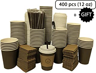100 Sets Disposable Paper Coffee Cups with Lids, Sleeves, Straws and Free Gift. Leak-Proof Coffee Cup for Hot Coffee,Cocoa 12 oz Mocha Brown paper cups | To Go Coffee Cups for Party and Bulk Buy