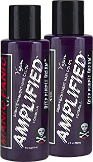 "Manic Panic Amplified Semi-Permanent Hair Color Cream - Deep Purple Dream 4oz""Pack of 2"""