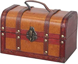 Vintiquewise(TM) Decorative Wood Leather Treasure Box (Small Trunk Only)