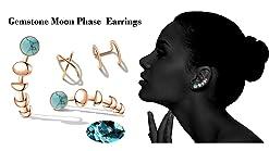 Sun Moon Star Climber Earrings Stud Hook Ear Cuff 2 Style Way  Brass Fashion Item Fashion Women Gift