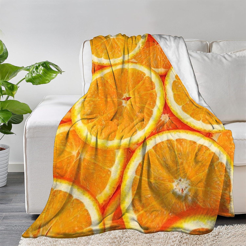 FUNDESIGN Orange Fruit Flannel Throw Soft Ultra Mail order cheap Lightwe Discount is also underway Blanket