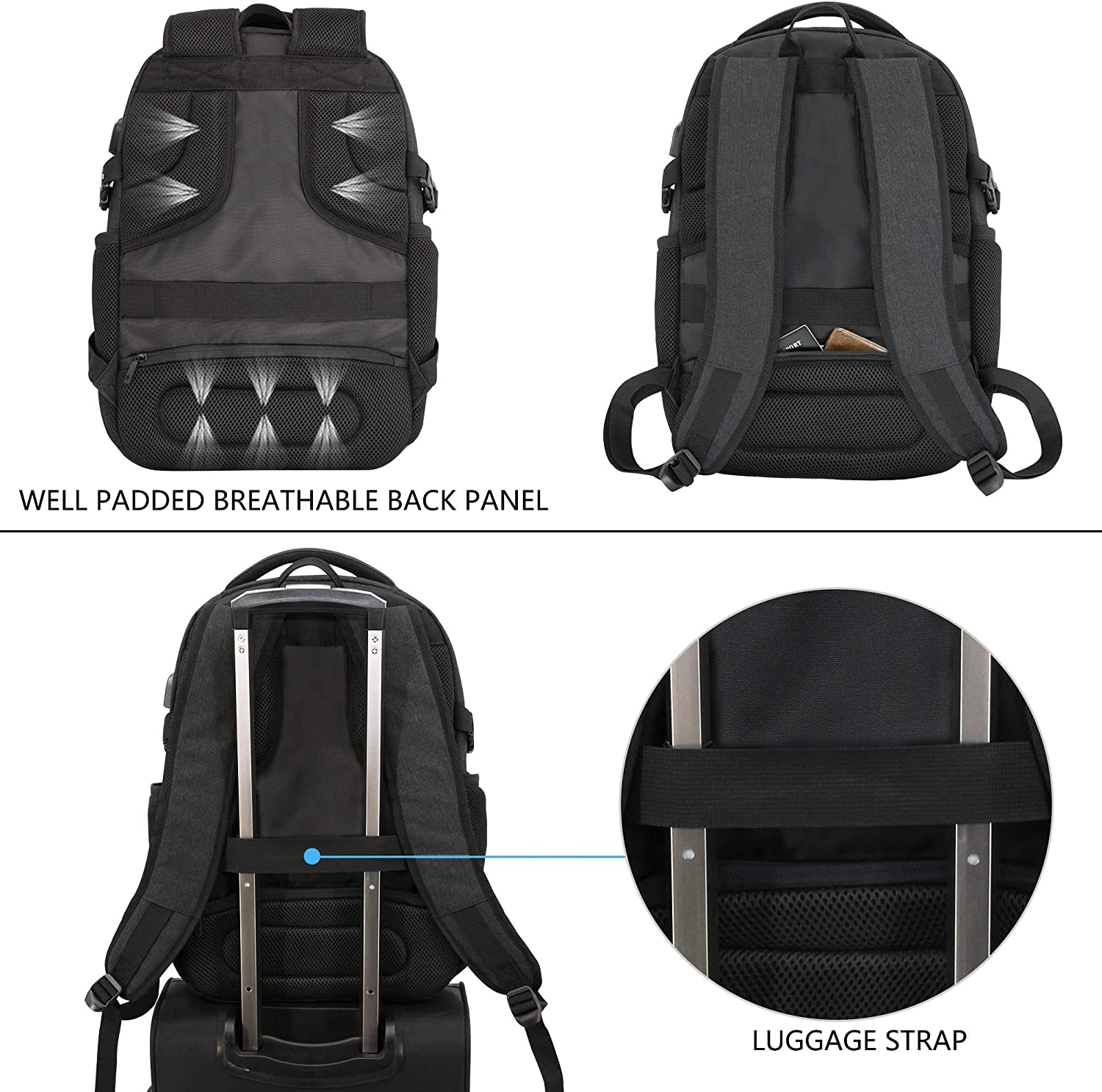 KROSER Laptop Backpack for 15.6 Inch Travel Business Computer Backpack with USB Charging Port Water-Repellent College School Casual Daypack for Men//Women-Charcoal Black