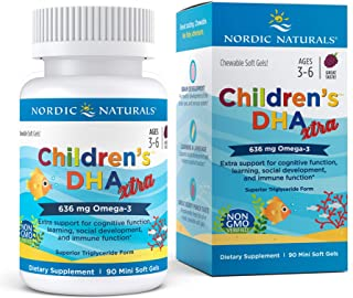 Nordic Naturals Children's DHA Xtra, Berry Punch - 90 Mini Chewable Soft Gels - 636 mg Total Omega-3s with EPA & DHA - Cog...