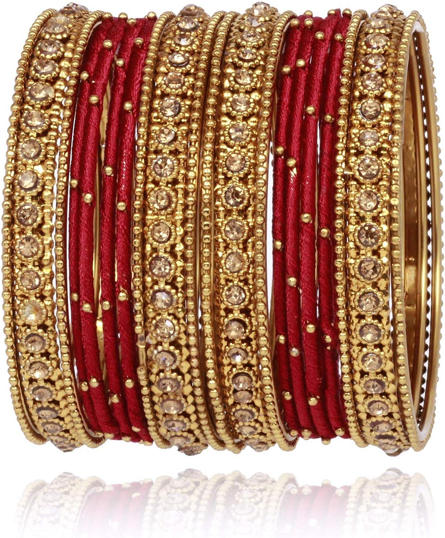 SANARA Indian Bollywood Bangles Antique Gold Plated Thread Bangles Pakistani Wedding Bangle Bracelet Jewelry