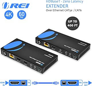 4K HDMI Extender Balun by OREI - HDBaseT UltraHD 4K @ 60Hz 4:4:4 Over Single CAT5e/6/7 Cable with HDR, CEC & IR Control, RS-232 - Up to 400 Ft - Loop Out - Power Over Cable - Audio Out (UHD-EXB400R-K)