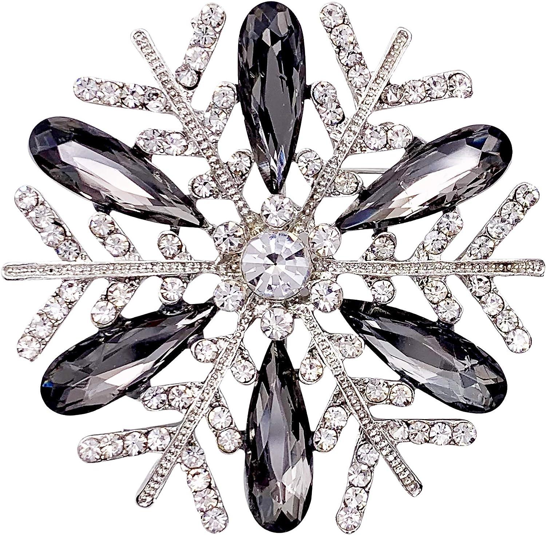 SELOVO Vintage Rhinestone Snowflake Brooch Pin Austrian Crystal