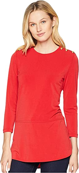 Button-Trim Matte Jersey Top