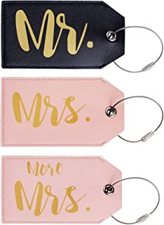 Mr Mrs Leather Luggage Tags Travel Tags Cute Couples Honeymoon Wedding Bridal Gift 3 pcs Set (version 1)