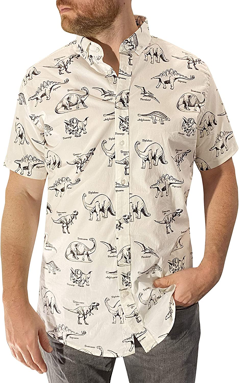 Dinosaur Pattern Mens Button Down Shirt, Slim fit, Dressy, Casual, Stretchy, Lightweight