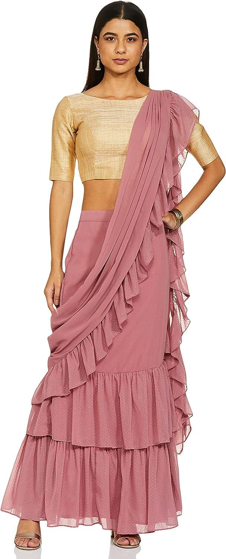Indya Pink Mukaish Foil Ruffled Sari Skirt