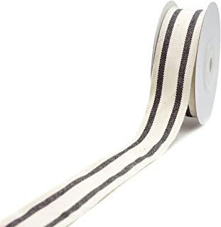 CT CRAFT LLC Natural Cotton Stripes Ribbon -1 inch (26mm) x 10 Yard.Decorative for DIY Crafts and Gift Wrapping - Ivory/Black