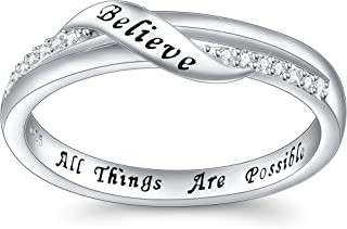 Inspirational Jewelry Sterling Silver Engraved Believe All Things are Possible Band Ring for Women Girlfriend, Size 5-10