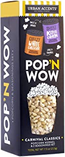 Urban Accents Pop 'n 'Wow – Carnival Classics Popcorn Kernels and Popcorn Seasoning Variety Pack - Non-GMO Kernel Popcorn, Kettle Corn Seasoning and White Cheddar Popcorn Toppings