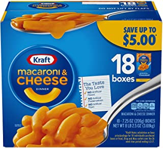 Kraft Macaroni & Cheese, Original Flavor, 7.25 oz, 18 Boxes
